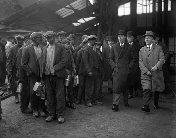 The class system in action: the Duke of York visits a coal mine in 1932