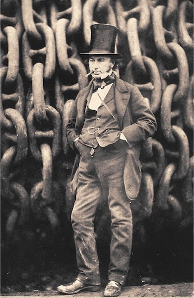Isambard Kingdom Brunel poses by the chains of Great Eastern