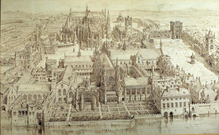 Palace of Westminster during the reign of Henry VIII: illustration by Henry William Brewer, 1884