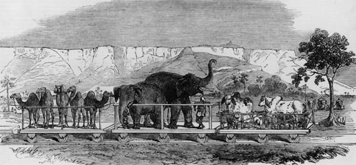 A fanciful view of an Indian railway, published in the Illustrated London News in 1851