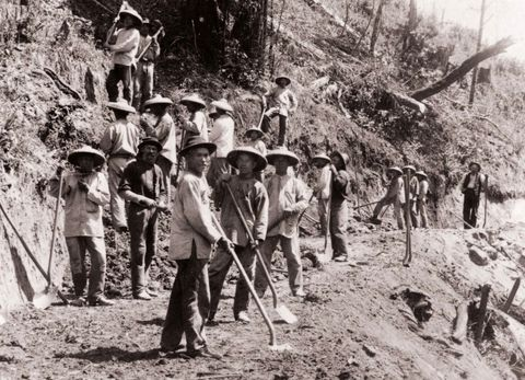 Chinese indentured labourers building a railway