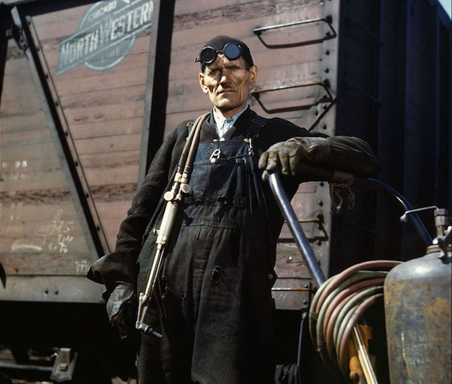 Welder, Chicago railyards, 1943, photograph by Jack Delano