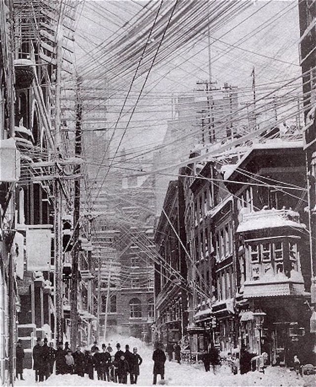 Telephone, telegraph and power lines in New York City, 1888