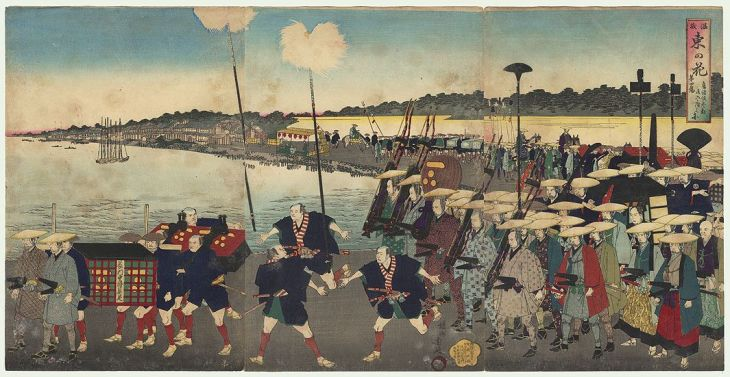 A daimyo procession entering Edo, as depicted by Yōshū Chikanobu in 1889.
