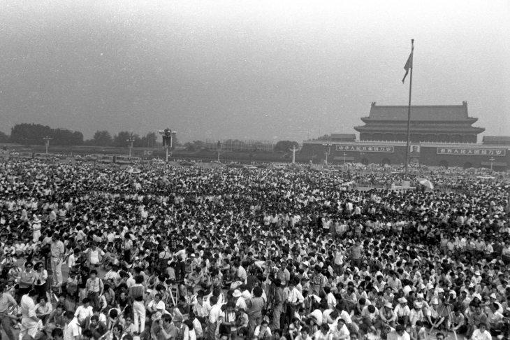 Protestors in Tiananmen Square, May 1989